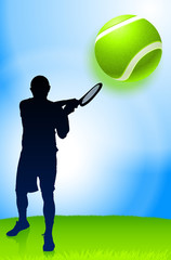 Tennis Player on Park Background
