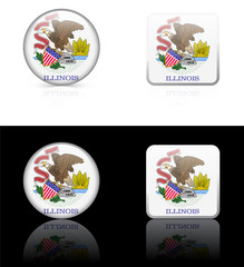 Illinois Flag Icon on Internet Button