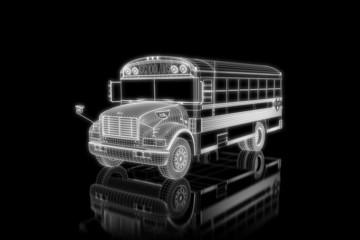 School bus - perspective 3d construction