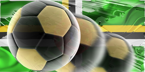 Flag of Dominica wavy soccer