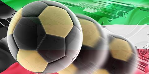 Flag of Kuwait wavy soccer
