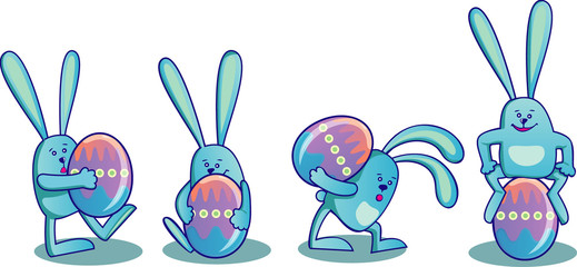 Set of easter rabbits with Easter eggs