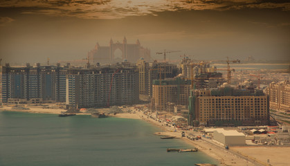 Palm Jumeirah, under construction, with Atlantis hotel