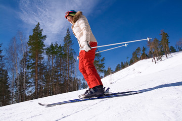 Adult woman skiing