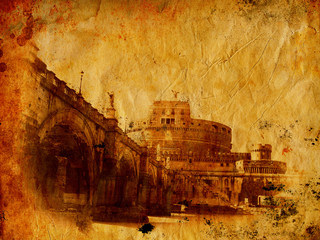 Castel Sant' Angelo - Vintage photo of Roma
