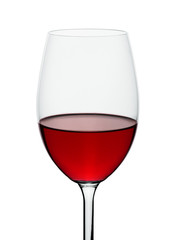 wineglass with red wine isolated