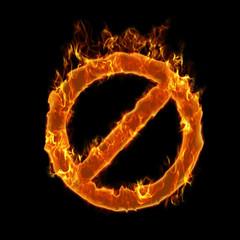 Burning forbidden symbol