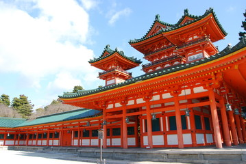 【日本】京都・平安神宮・本殿右・晴れ・冬
