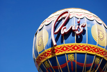 Close up of the Paris hotel Balloon in Las Vegas