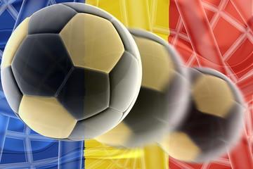 Flag of Romania wavy soccer