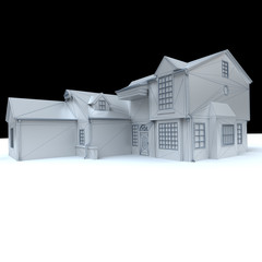 White model house with black background