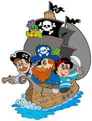 Zelfklevend Fotobehang Piraten Ship with various cartoon pirates