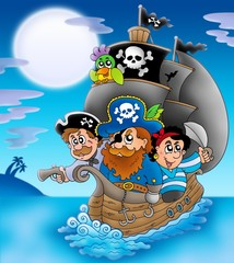 Garden Poster Pirates Sailboat with cartoon pirates at night