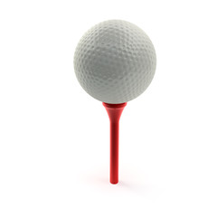 Golfball auf Tee (mit Freistellungspfad)