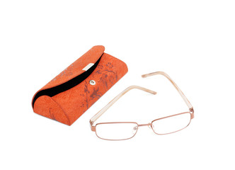 glasses and an open carrying case for glasses isolated on white