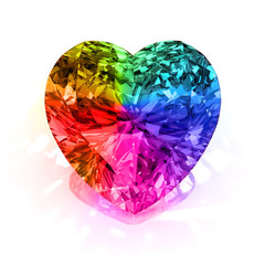 rainbow heart shape diamond
