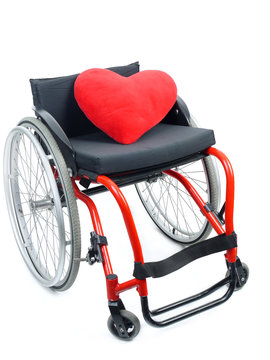 Red heart and wheelchair