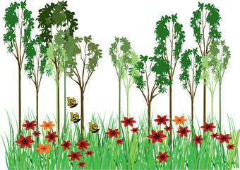 trees grass flowers