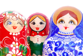 Smiling faces of Russian dolls