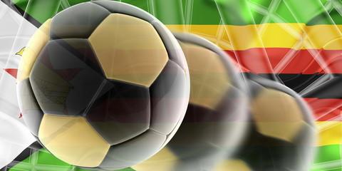 Flag of Zimbabwe wavy soccer