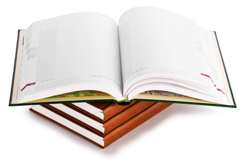 stack book with opened book isolated on a white background