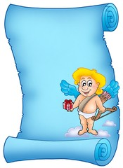 Blue scroll with Cupid holding gift