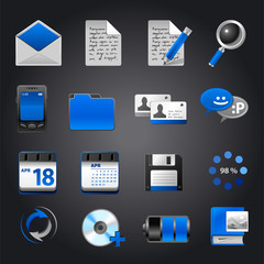Icon set. Black and blue style.