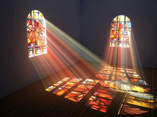 Empty room with light through colorful stained glass windows