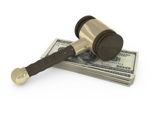 3d gavel and dollars