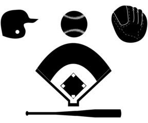 Set of Baseball Silhouettes