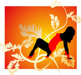 Orange abstract background with dancing girl