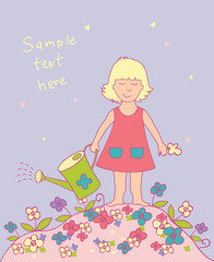 Floral background with girl