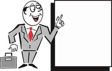 Business executive with sign cartoon