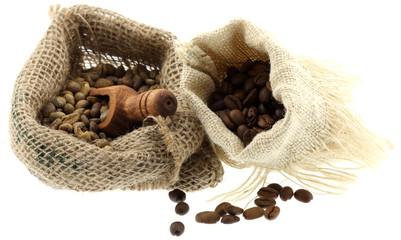 Tuinposter koffiebar sacs café fond blanc