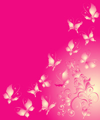 Abstract background with butterflies and florel ornament, vector