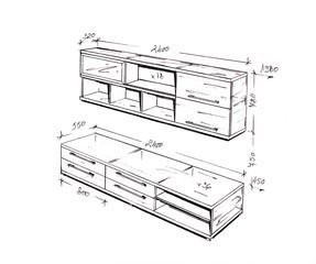 Modern interior design freehand drawing.