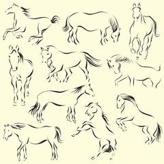 Ten horses set