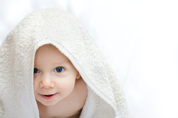 baby portrait with towel