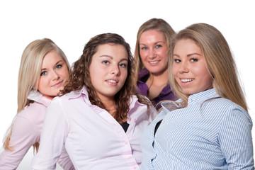 4 girls on white