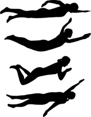 swimming styles silhouettes - vector