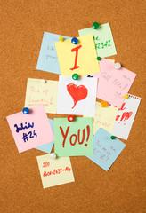 Love note on cork board