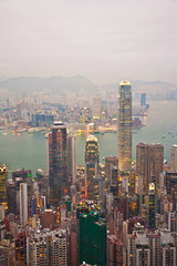 Skyline of Hong Kong City from the Peak in beautiful light