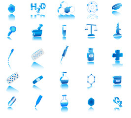 Illustration of 3d chemistry icons