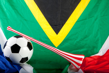 vuvuzela with football and flag