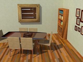 Salón estilo vintage renderizado