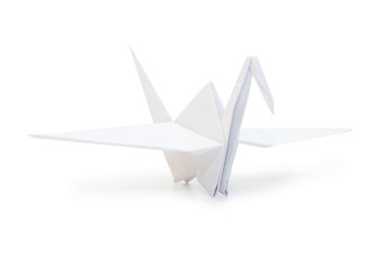 Origami crane isolated on white background
