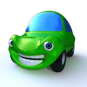 cartoon  3d green happy car