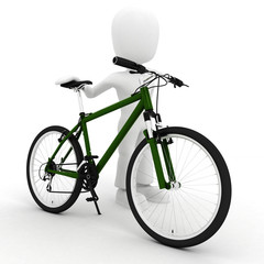 3d man and a bicycle