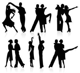 Latino dancing silhouettes.