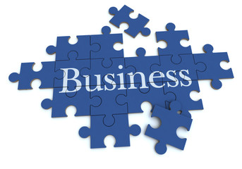 Business puzzle in blue